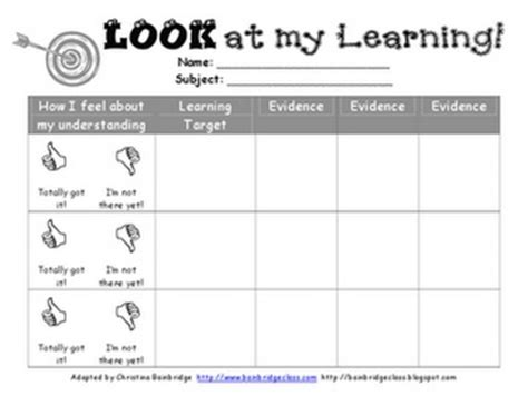 printable learning targets self assessment for my classroom pinterest
