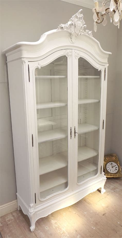 ID3268 STUNNING ANTIQUE FRENCH CRESTED GLAZED DISPLAY CABINET