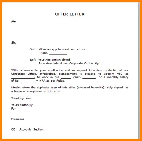 Offer Letter Sle In Word Format 6 Letter Format In Word Ledger Paper