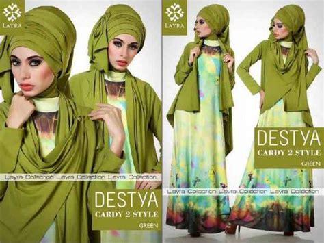 Dress Gamis Jersey Motif Kupu Kupu destya by layra green baju muslim gamis modern