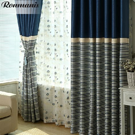 Striped Blackout Curtains Navy And White Striped Curtains Blackout Curtain Menzilperde Net