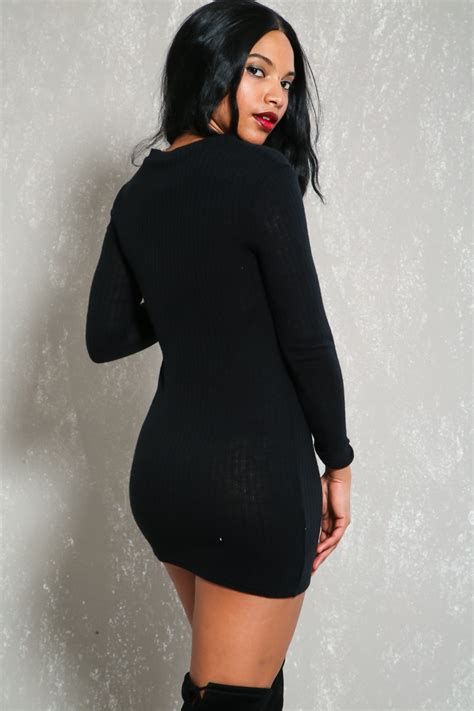 Lace Up Back 3 4 Sleeve Knit Dress black knit lace up sleeve bodycon casual sweater