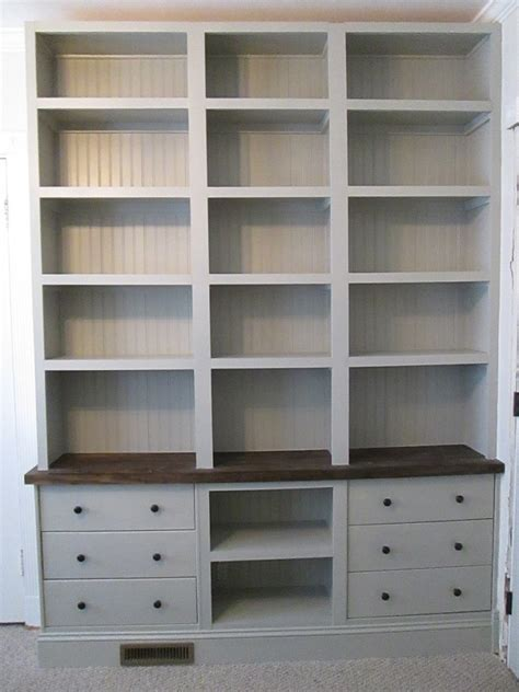 Ikea Bookcase Built In Hack | built in bookshelves with rast drawer base ikea hackers