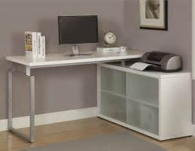 White Desk L Shaped White L Shaped Desk With Frosted Glass Contemporary Desks And Hutches By Overstock