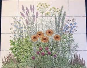 quot julie s flowering herb garden quot hand painted ceramic tile mural