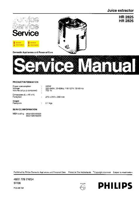 Juicer Philips Hr 2826 philips hr 2825 2826 juice extractor parts service manual