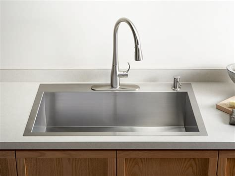 top mount kitchen sink no holes k 3821 4 vault top mount or mount sink w four