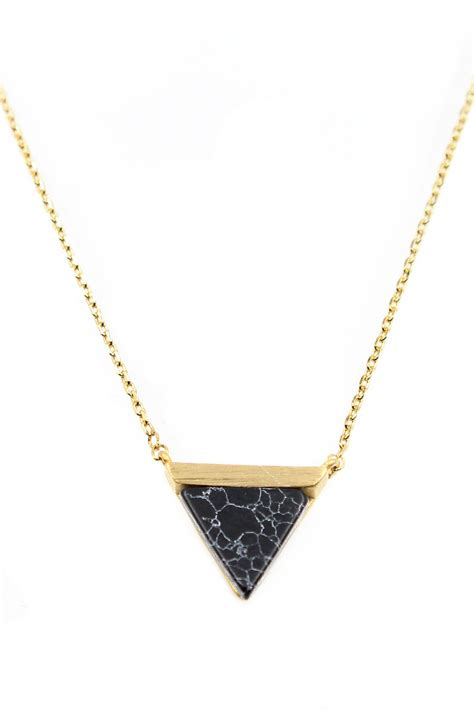 Triangle Pendant Necklace marble triangle pendant necklace necklaces