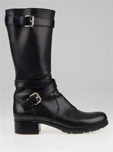 prada black leather motorcycle boots size 7 5 38 yoogi s