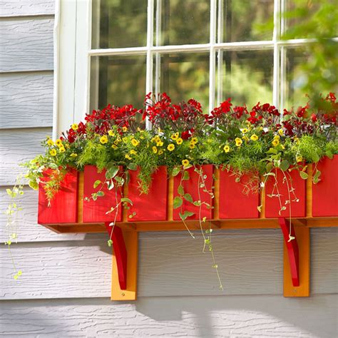 picture of diy red window planter box