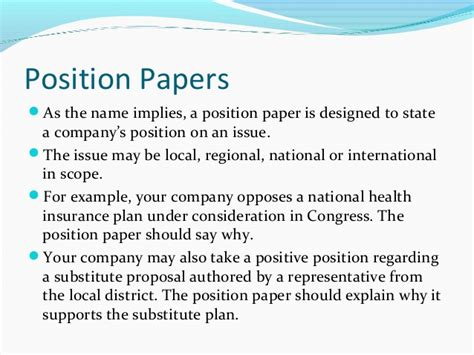 how to write a position paper exle backgrounders and position papers