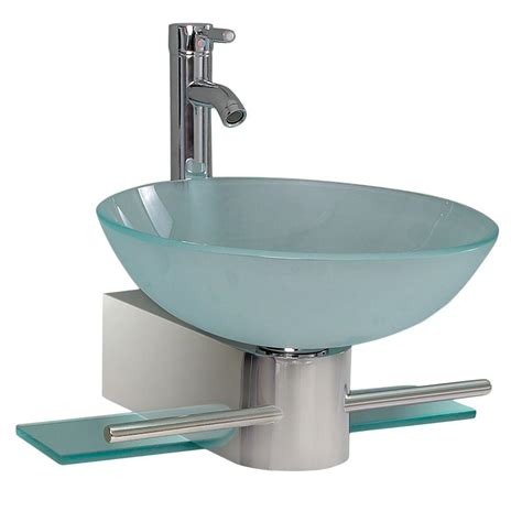 Chrome Sink by Fresca Cristallino Vessel Sink In Frosted Glass With Stand
