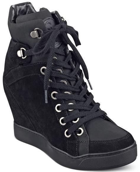 wedge sneakers macy s guess s matty wedge sneakers in black lyst