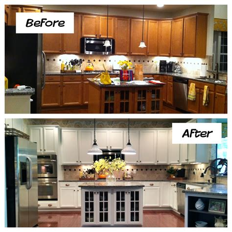 how to refinish painted kitchen cabinets oak kitchen cabinets painted before and after home photos