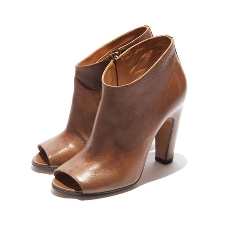 vintage brown ankle boots heels open toe brand formal