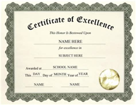 certificate of excellence templates free templates for high school certificate templates