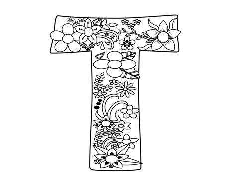 Letter T Coloring Pages For Adults by Best And Easy Letter T Coloring Page For