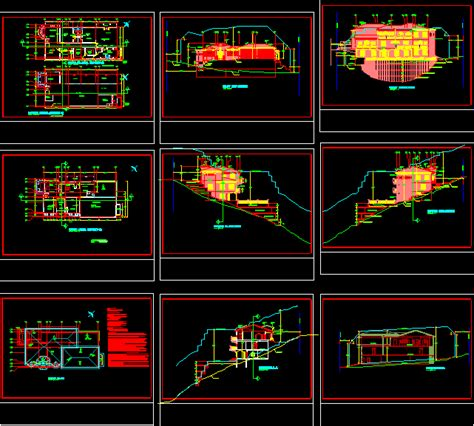 split level house hillside dwg section  autocad