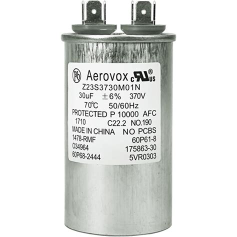 run capacitor lifespan motor run capacitor 370vac aerovox z23s3730m01n