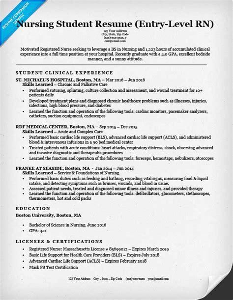 entry level nursing student resume sle tips