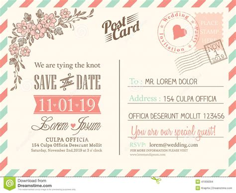 postcard invitation template vintage postcard background for wedding invitation stock