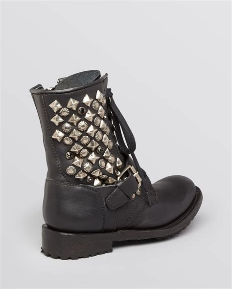 lace up moto boots lyst ash lace up moto boots ryanna studded in black
