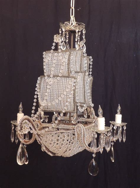 Early 1900s Venetian Crystal Iron And Tole Ship Ship Chandelier