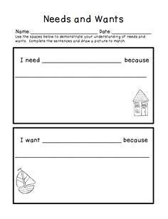 kindergarten activities needs and wants i can sort needs and wants picture worksheet
