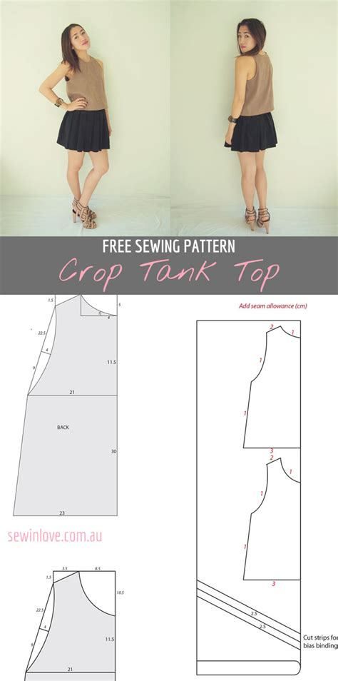 sewing pattern crop top free crop tank top sewing pattern and tutorial sew in love