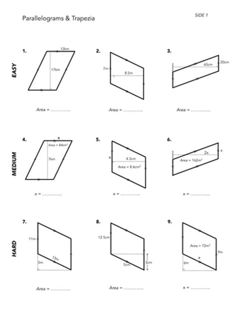 free printable area of parallelogram worksheets area of quadrilaterals by jwmcrobert teaching resources