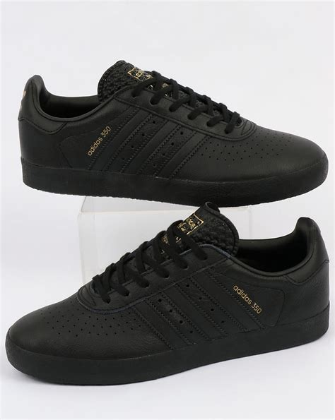 Adidas Black adidas 350 trainers black leather shoes originals mens