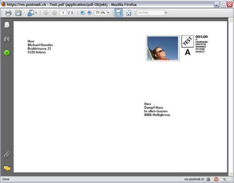 Schweiz Brief Senden Umschlag Drucken Software Atroj