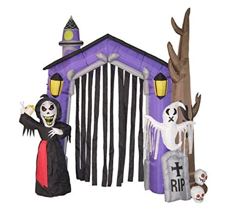 inflatable haunted house werchristmas 270 cm large pre lit quot haunted house quot inflatable halloween decoration with