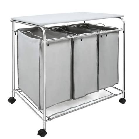 3 compartment laundry 3 compartment laundry cart basket trolley with iron board