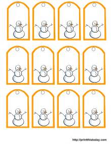 Tags shows a smiling snowman these tags have a beautiful orange border