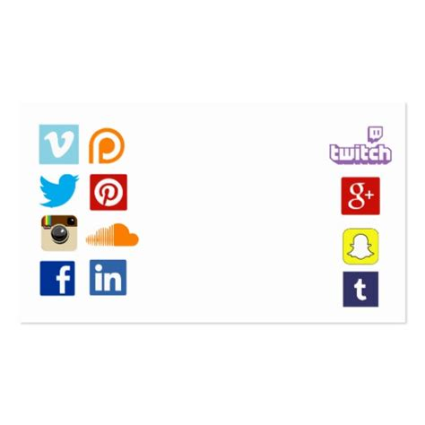 social media business cards template business card template with social media icons 3 zazzle