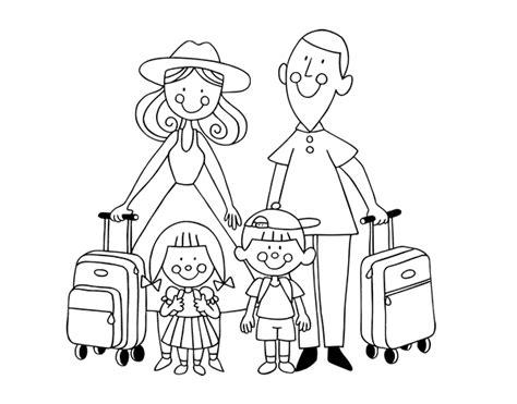 imagenes de las vacaciones para colorear dibujo de una familia de vacaciones para colorear