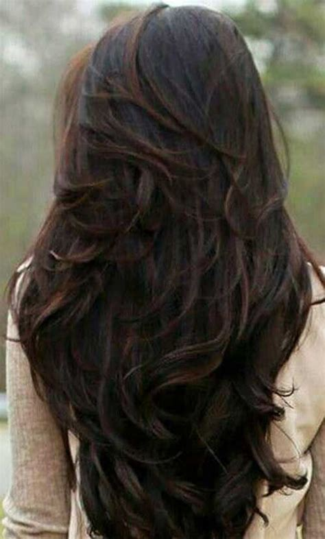 is v shaped layered look good for curly hair long dark chocolate brown wavy hair with layers in a v