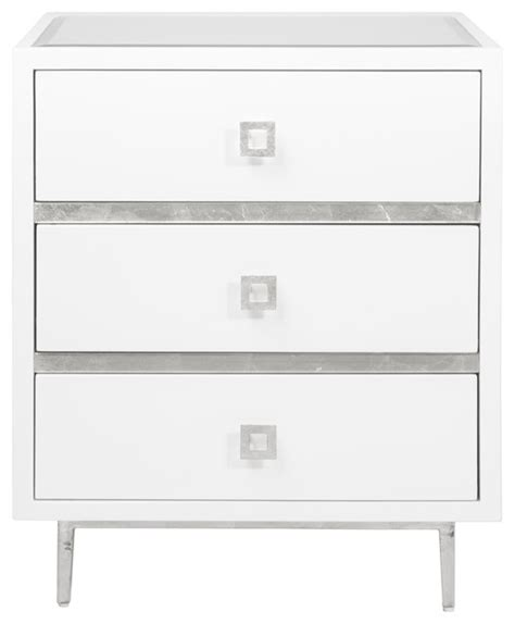 White And Silver Nightstand Bartok Regency White Lacquer Silver Leaf Nightstand Modern Nightstands And Bedside Tables