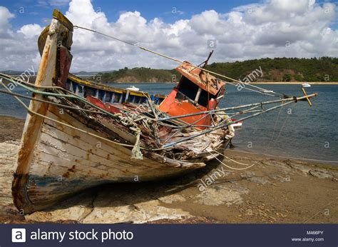 side of a fishing boat side view of fishing trawler stock photos side view of