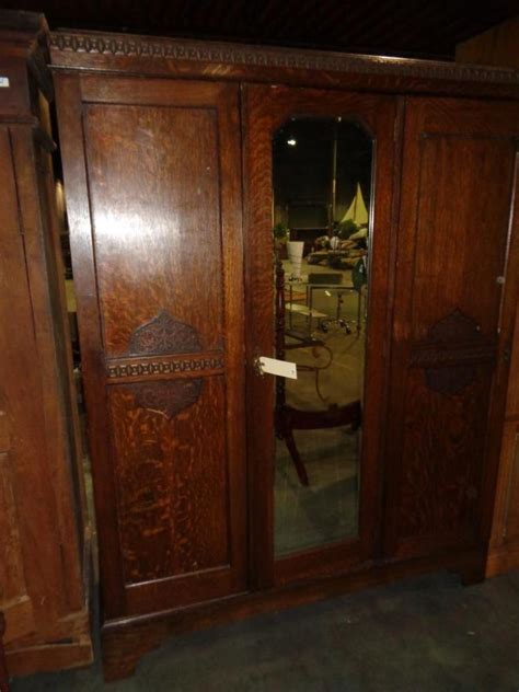 antique armoire with mirror antique 3 section armoire w mirror
