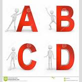 White men stay with a red capital letters ABCD.