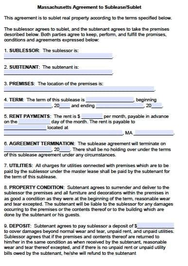 Free Massachusetts Sublease Agreement Form Pdf Template Massachusetts Rental Lease Template