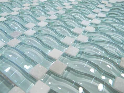 backsplash light aqua blue wavy 3d glass mosaic