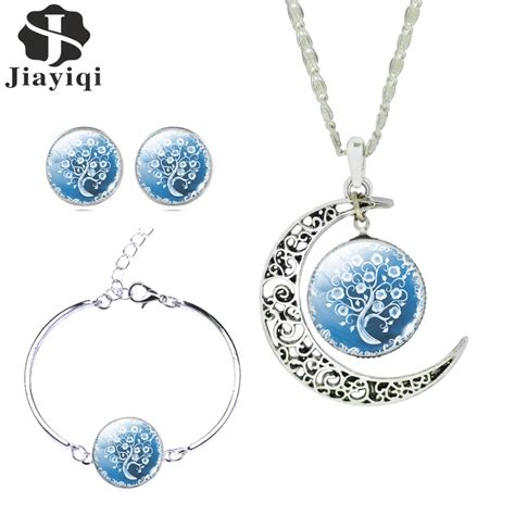 silver color jewelry sets white blue