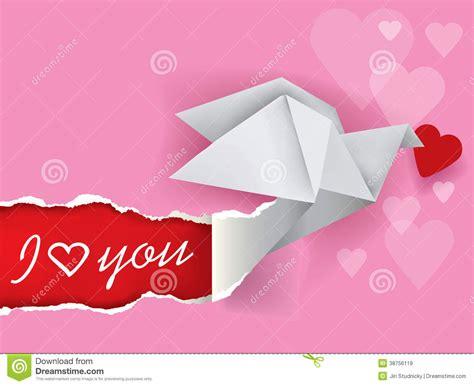 Origami Message - message de colombe d origami de l amour images libres de