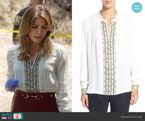 Blouse Maura wornontv maura s white embellished blouse and pleated leather skirt on rizzoli and isles