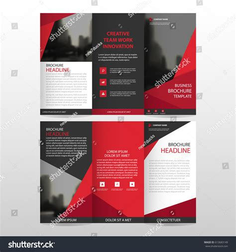 brochure templates new york red triangle business trifold leaflet brochure stock