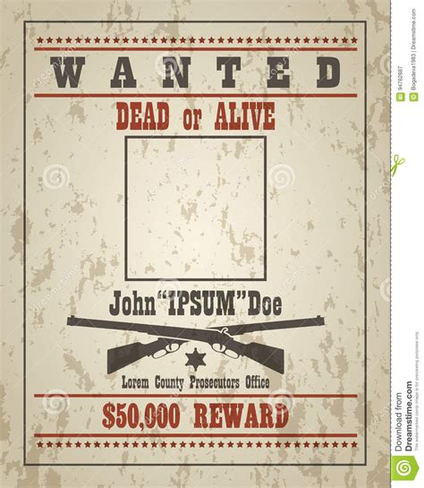 layout of a wanted poster retro wanted poster template stock vector image 94762887