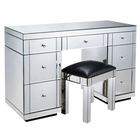Mirrored Changing Table Foxhunter Mirrored Furniture Glass Dressing Table With Drawer Console Bedroom Ebay